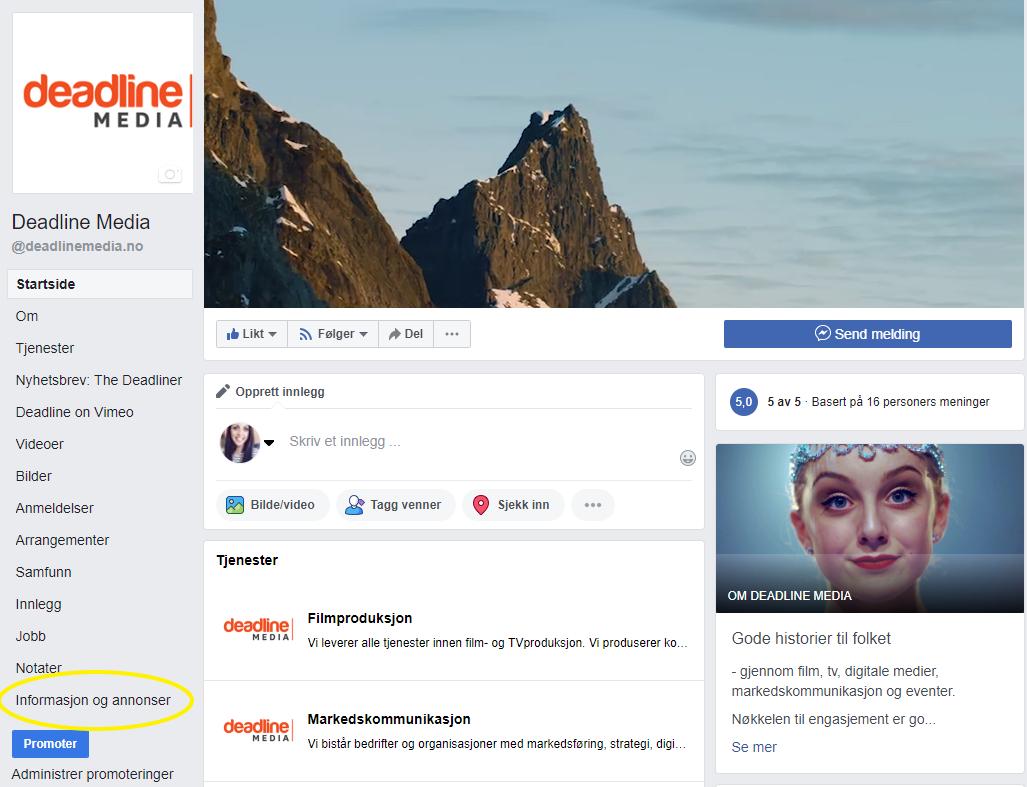 skjermdump facebook informasjon og annonser